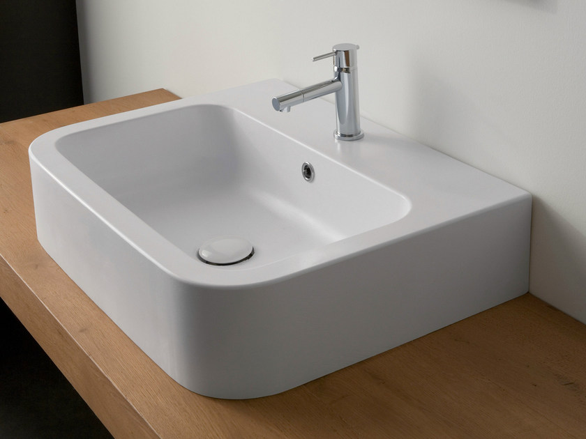 Countertop rectangular ceramic washbasin NEXT 60B by Scarabeo Ceramiche