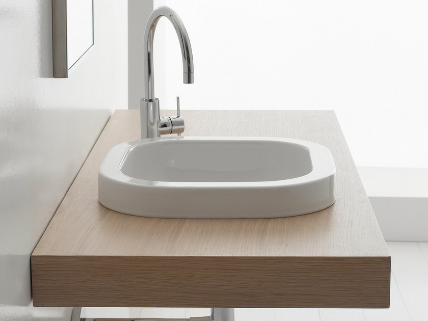 Inset square ceramic washbasin NEXT 40A by Scarabeo Ceramiche