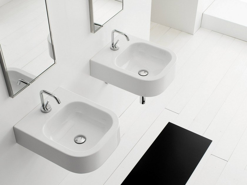 Wall-mounted ceramic washbasin NEXT 40B by Scarabeo Ceramiche