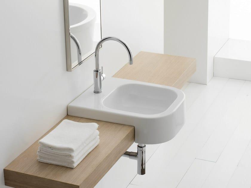 Semi-inset rectangular ceramic washbasin NEXT 40D by Scarabeo Ceramiche