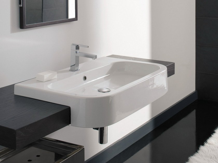 Semi-inset rectangular ceramic washbasin NEXT 80D by Scarabeo Ceramiche