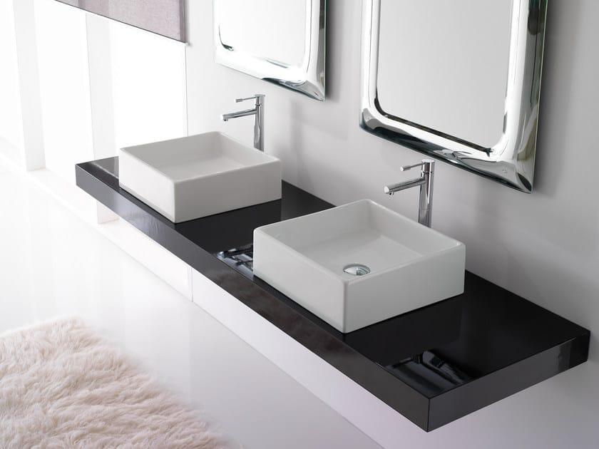 Countertop square ceramic washbasin TEOREMA 40 by Scarabeo Ceramiche