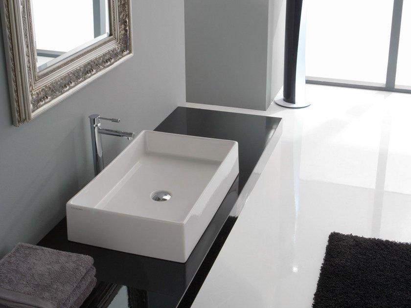 Countertop rectangular ceramic washbasin TEOREMA 60 by Scarabeo Ceramiche