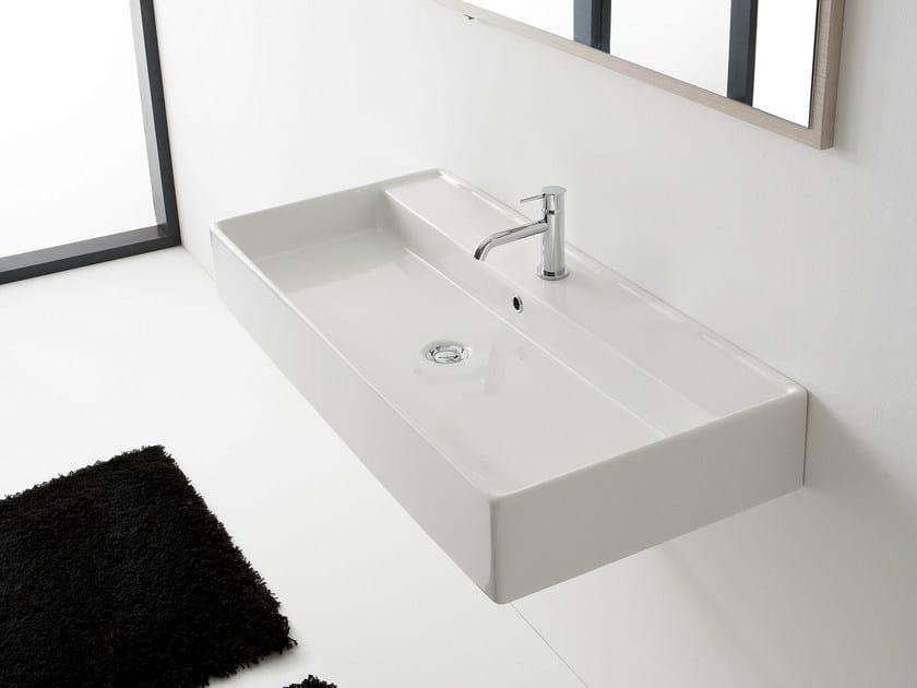 Wall-mounted ceramic washbasin TEOREMA 120R A by Scarabeo Ceramiche
