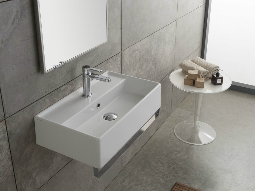 Wall-mounted ceramic washbasin TEOREMA 60X35R by Scarabeo Ceramiche