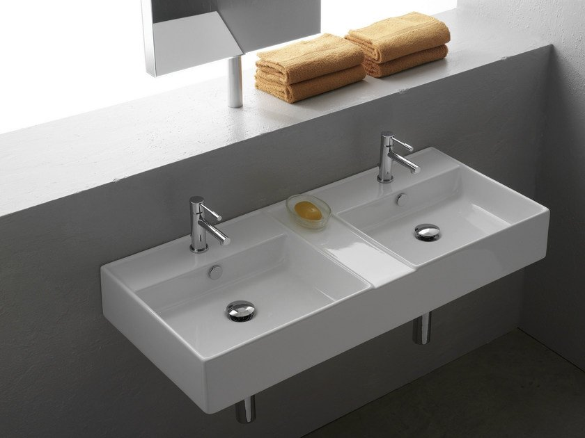 Double wall-mounted ceramic washbasin TEOREMA 105R by Scarabeo Ceramiche