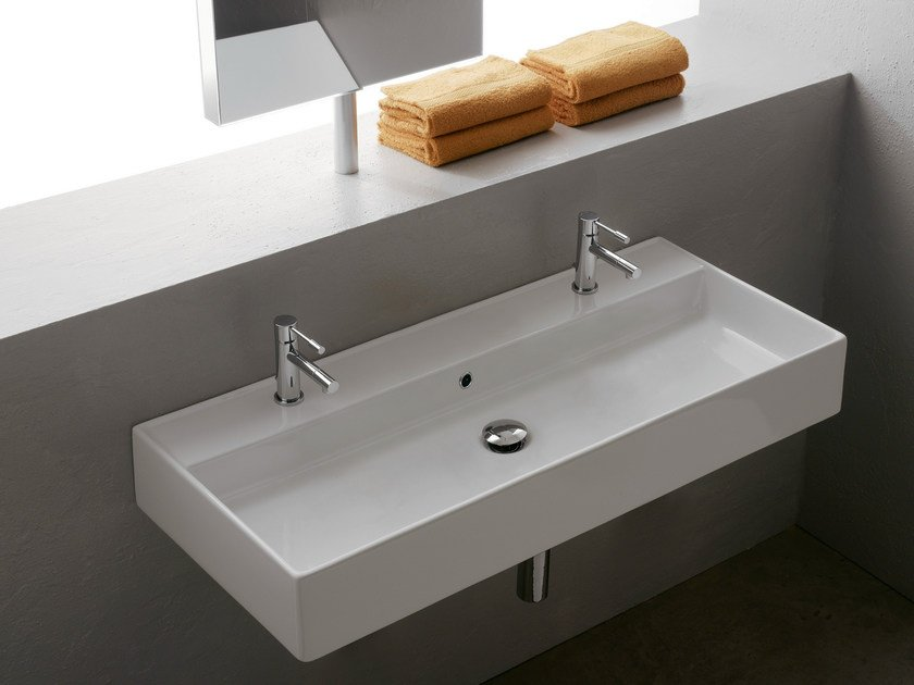 Double wall-mounted ceramic washbasin TEOREMA 100R B by Scarabeo Ceramiche