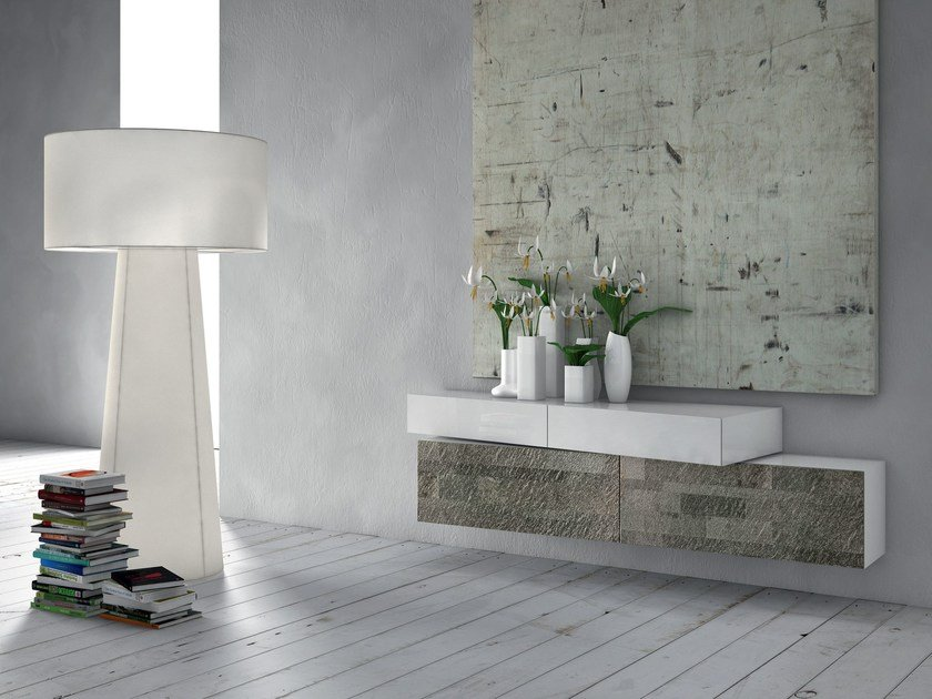 Lacquered suspended sideboard INCLINART STONE | Suspended sideboard by Presotto