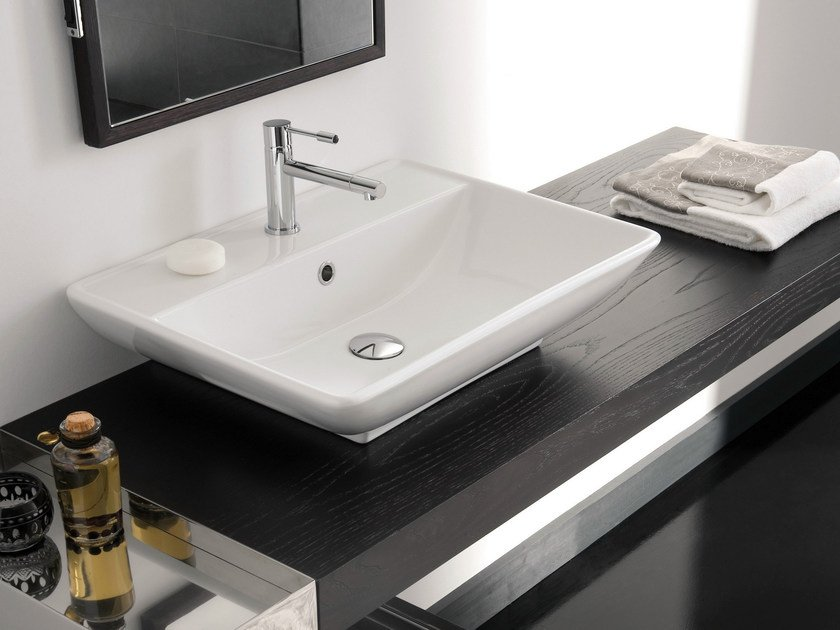 Rectangular ceramic washbasin KYLIS R by Scarabeo Ceramiche