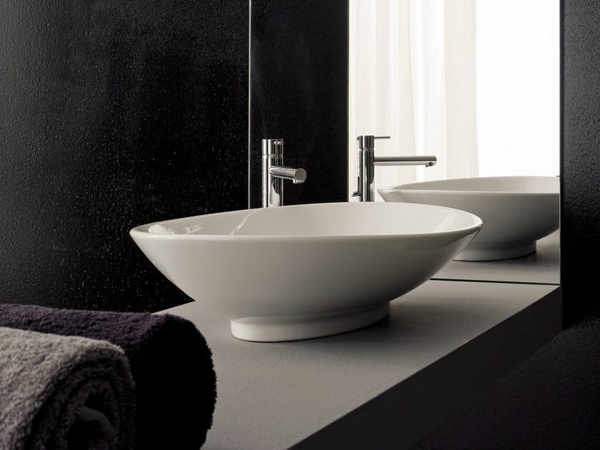 Countertop round ceramic washbasin NECK by Scarabeo Ceramiche