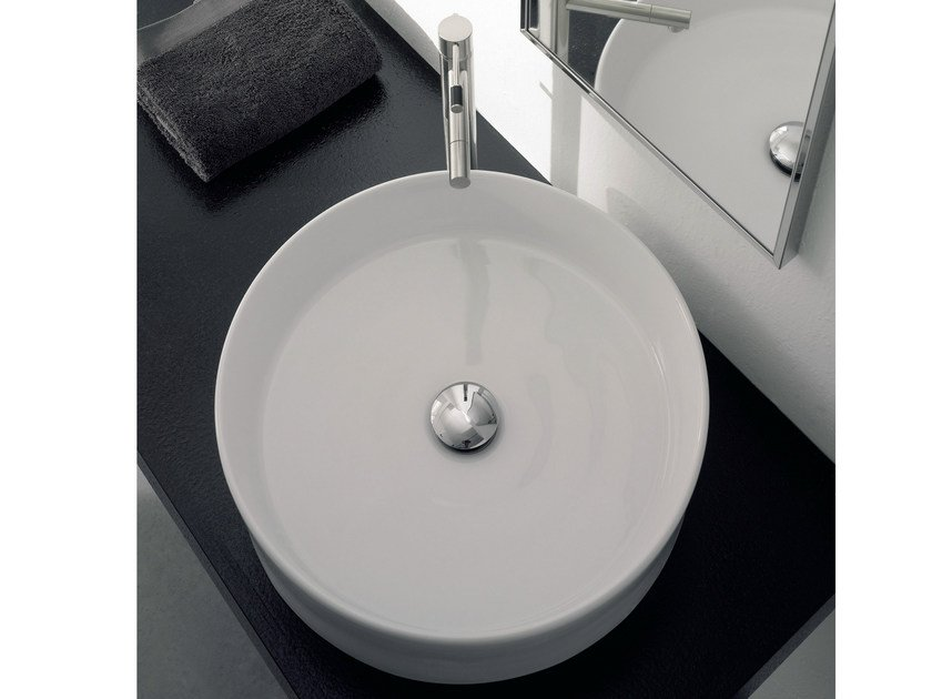 Countertop round ceramic washbasin GEO by Scarabeo Ceramiche
