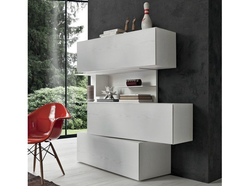 Freestanding lacquered bookcase INCLINART | Bookcase by Presotto