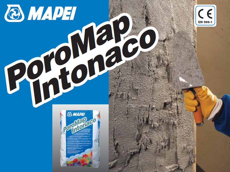 Renovating and de-humidifying additive and plaster POROMAP INTONACO by MAPEI