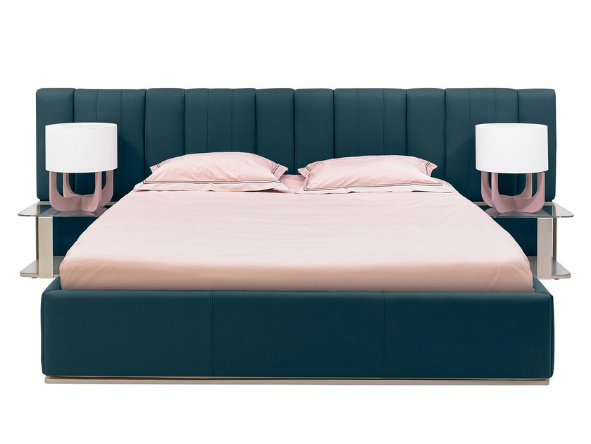 Upholstered leather double bed with upholstered headboard PREMIUM | Bed by GAUTIER FRANCE