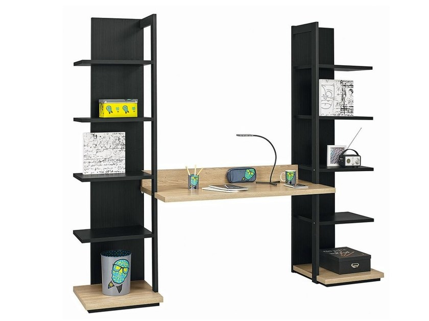 Rectangular Kids writing desk with bookcase URBAN - 13 by GAUTIER FRANCE