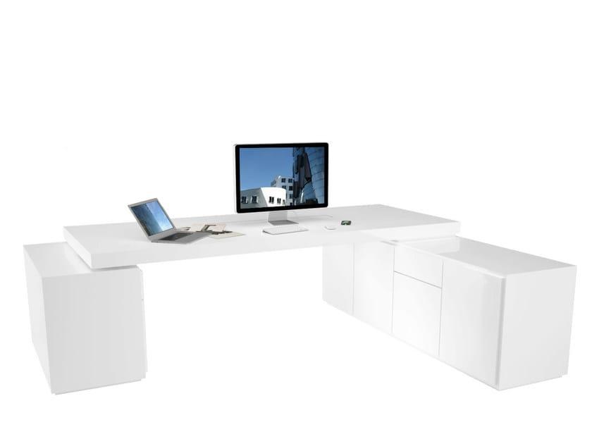 L-shaped lacquered workstation desk PRAEFECTUS   Workstation desk by RECHTECK