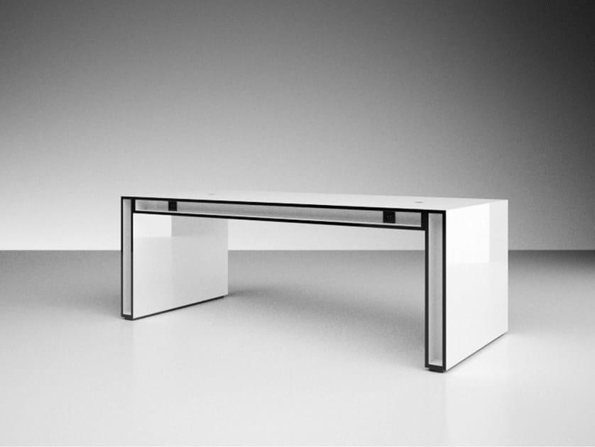 Rectangular laminate writing desk UNA by RECHTECK