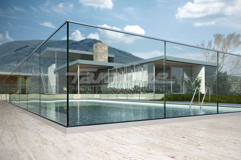 Glass balustrade ninfa 50 by faraone design nino faraone for Balustrade en verre exterieur