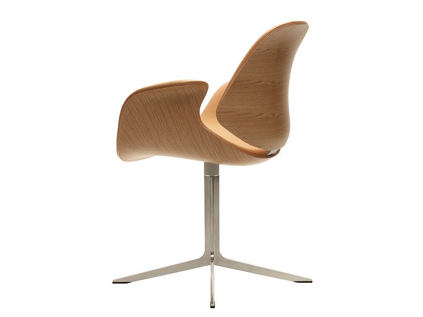 Swivel leather chair with 4-spoke base COUNCIL   Chair by Onecollection