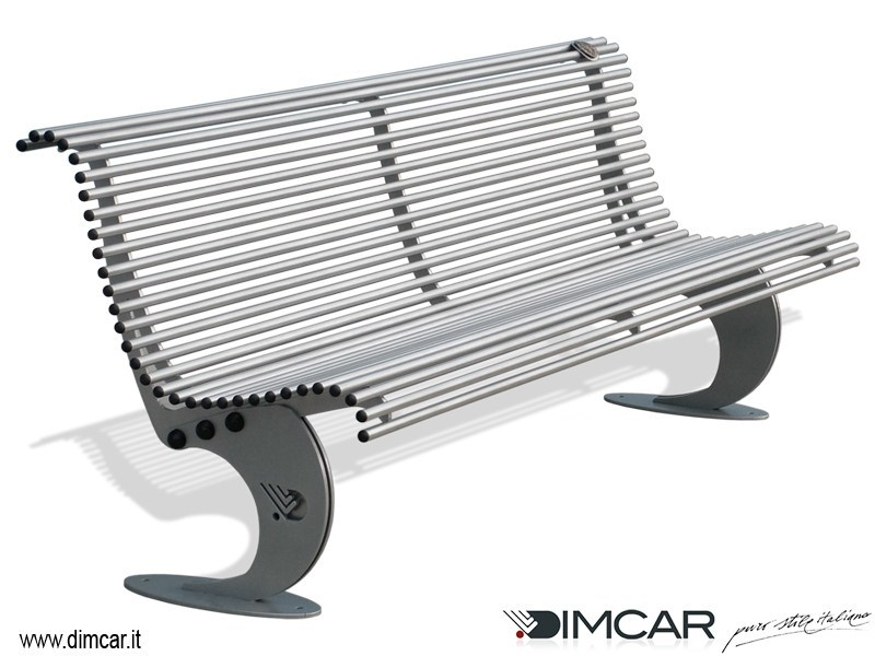 Contemporary style metal Bench with back Panchina Luxe in acciaio zincato by DIMCAR
