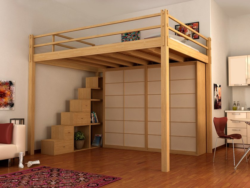 Loft wooden bed YEN | Loft bed by Cinius