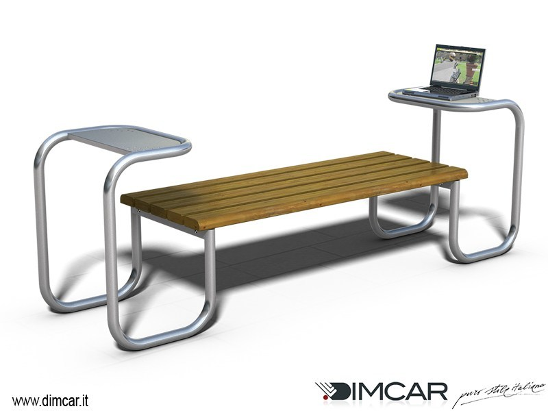 Contemporary style backless metal Bench Panca Desk by DIMCAR