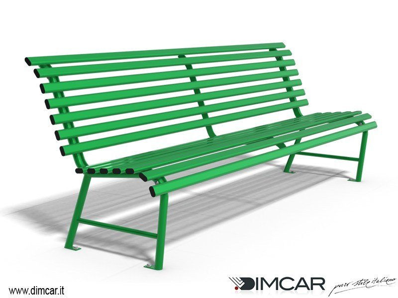 Classic style metal Bench with back Panchina Madrid by DIMCAR