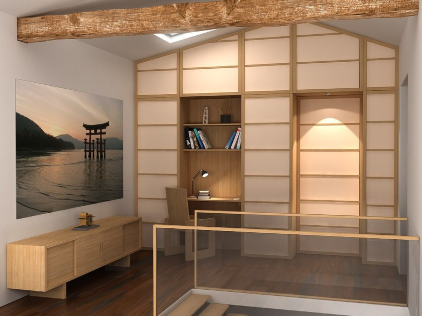 shoji trennwand mit faltt ren by cinius. Black Bedroom Furniture Sets. Home Design Ideas