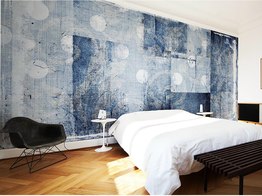 Dotted panoramic wallpaper with floral pattern DAMADOTS by N.O.W.  Edizioni