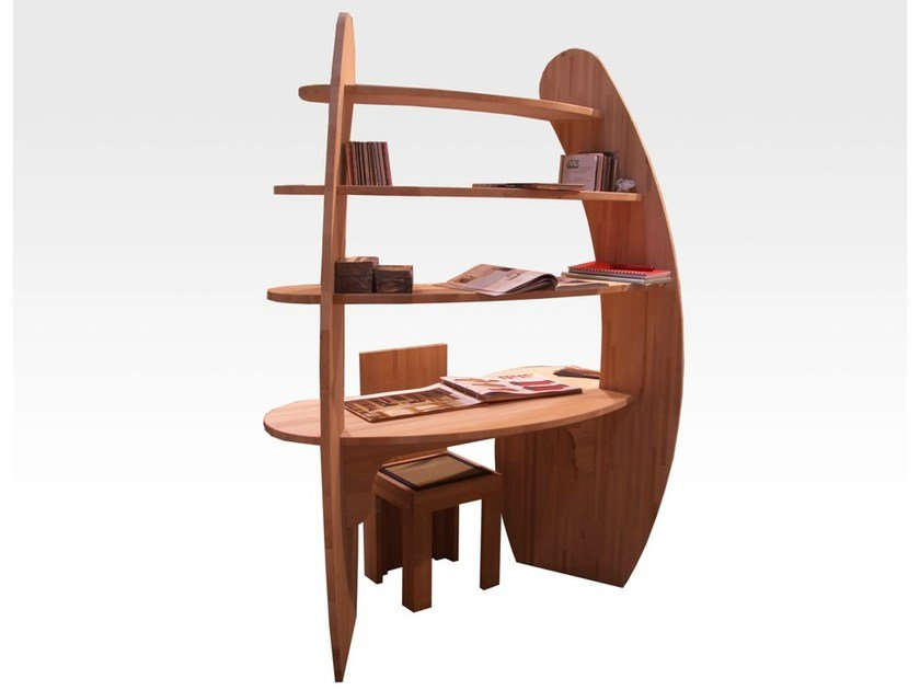Wooden Kids writing desk with bookcase Kids writing desk by Cinius