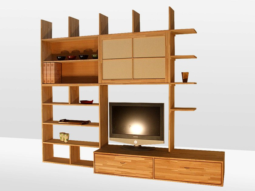 Freestanding lacquered wooden bookcase HARU C by Cinius