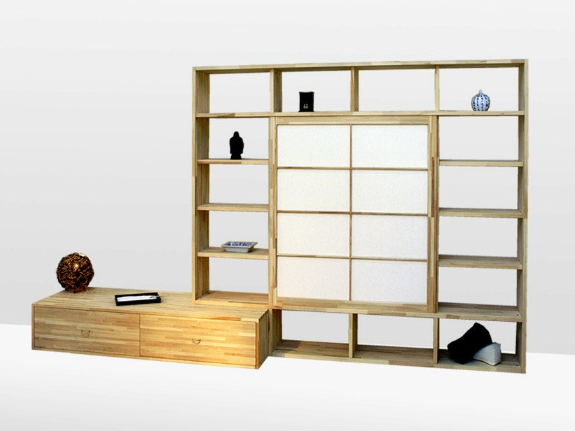 Freestanding lacquered wooden bookcase HARU B by Cinius