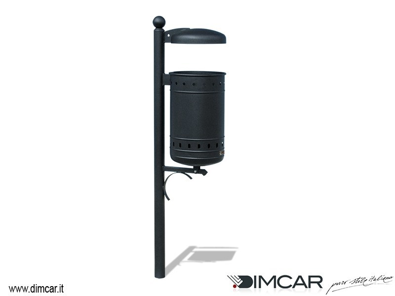 In-ground outdoor metal litter bin with lid Cestino Alfiere con coperchio by DIMCAR