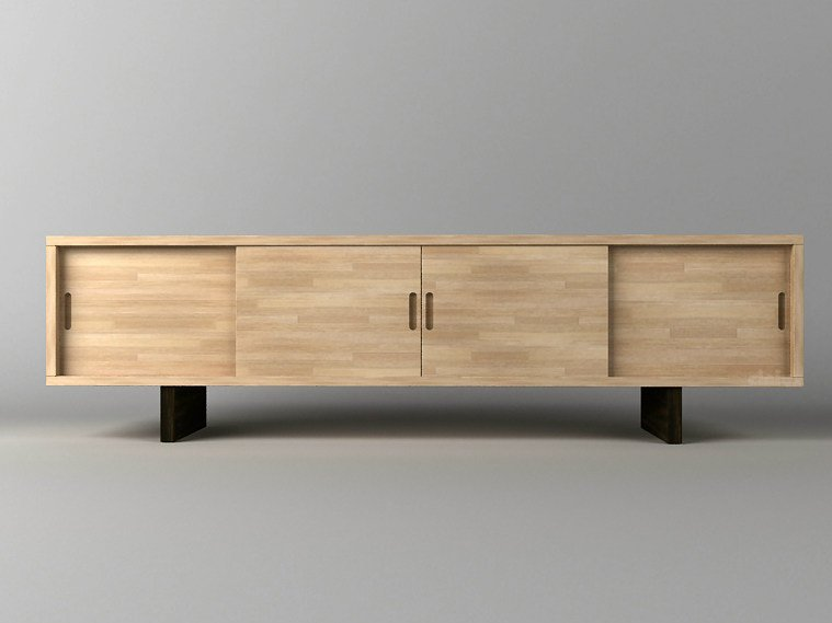 Lacquered wooden sideboard with sliding doors JACHI by Cinius