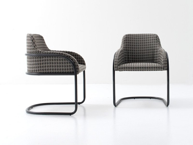 Cantilever upholstered chair with armrests STREAM by Nube Italia