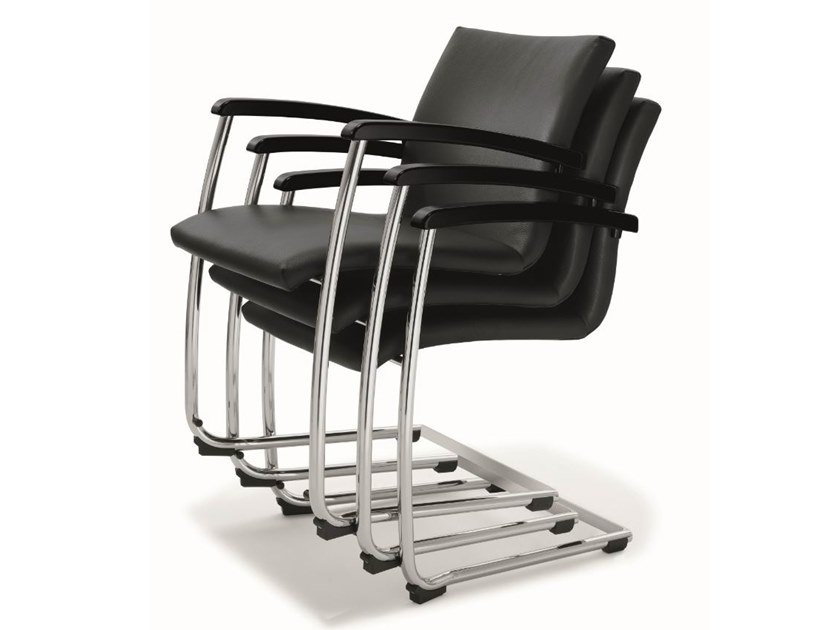 Cantilever stackable leather training chair BUG | Leather chair by BENE