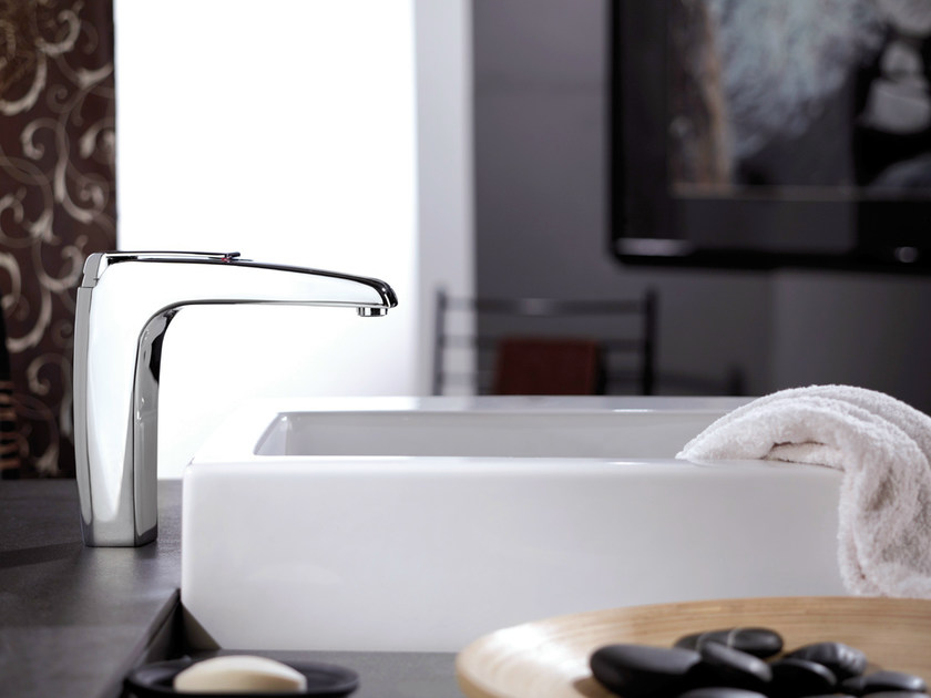 Chrome-plated single handle washbasin mixer without waste ATMOS | Washbasin mixer without waste by Remer Rubinetterie