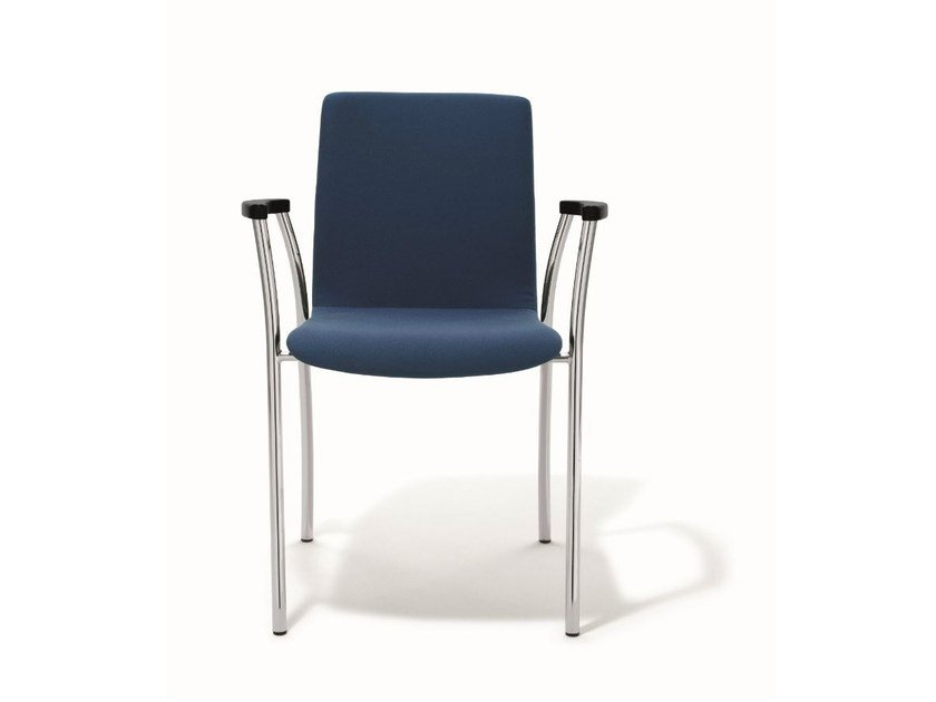 Upholstered stackable chair with armrests KIZZ | Chair with armrests by BENE