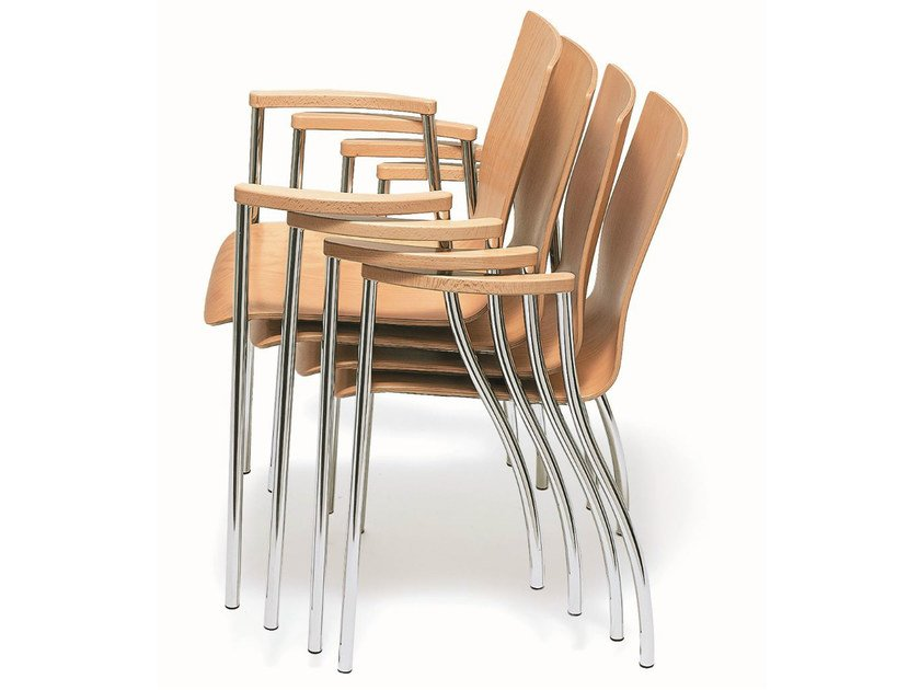 Stackable wooden chair with armrests KIZZ | Wooden chair by BENE