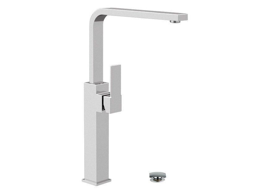 Countertop single handle washbasin mixer with adjustable spout QUBIKA | Single handle washbasin mixer by Remer Rubinetterie