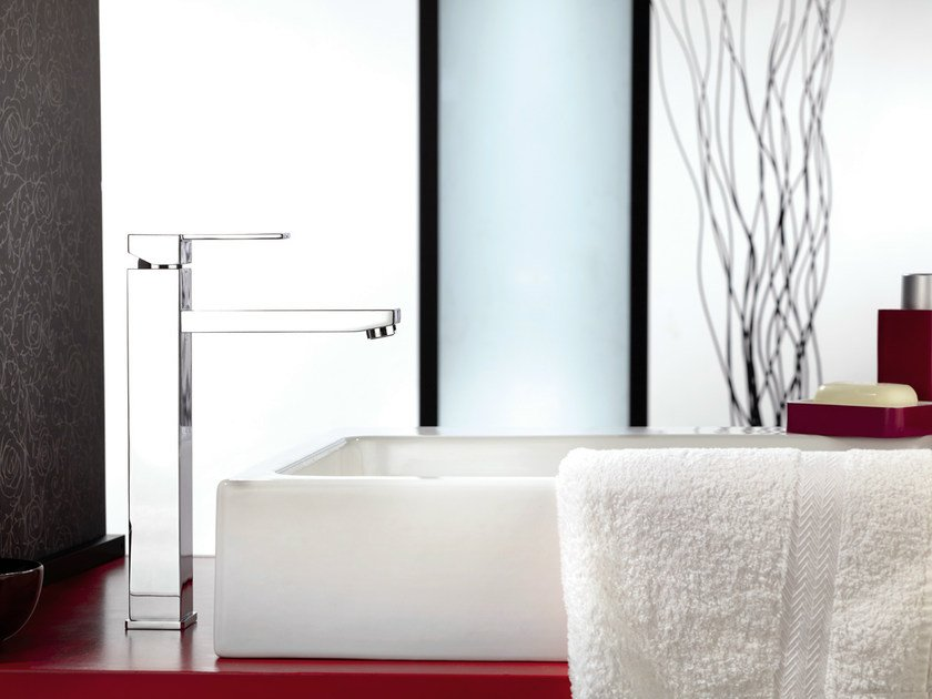 Chrome-plated single handle washbasin mixer without waste QUBIKA | Chrome-plated washbasin mixer by Remer Rubinetterie