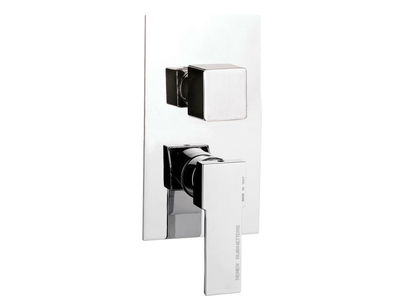 Chrome-plated single handle shower mixer with diverter QUBIKA | Chrome-plated shower mixer by Remer Rubinetterie