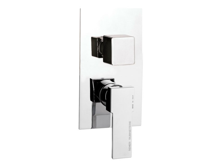 Chrome-plated single handle shower mixer with diverter QUBIKA | Shower mixer by Remer Rubinetterie