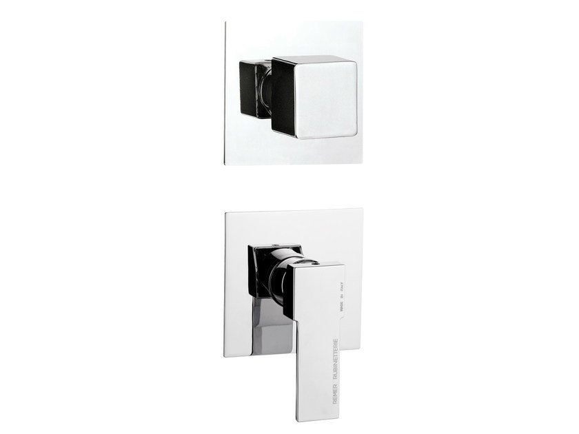Chrome-plated single handle shower mixer with diverter QUBIKA | Single handle shower mixer by Remer Rubinetterie