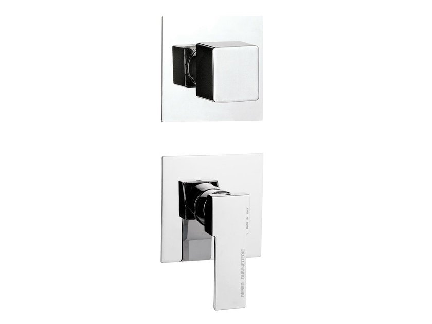 Chrome-plated single handle shower mixer with diverter QUBIKA   Shower mixer by Remer Rubinetterie