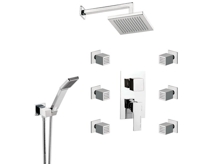 Shower mixer with hand shower with overhead shower QUBIKA | Shower mixer by Remer Rubinetterie