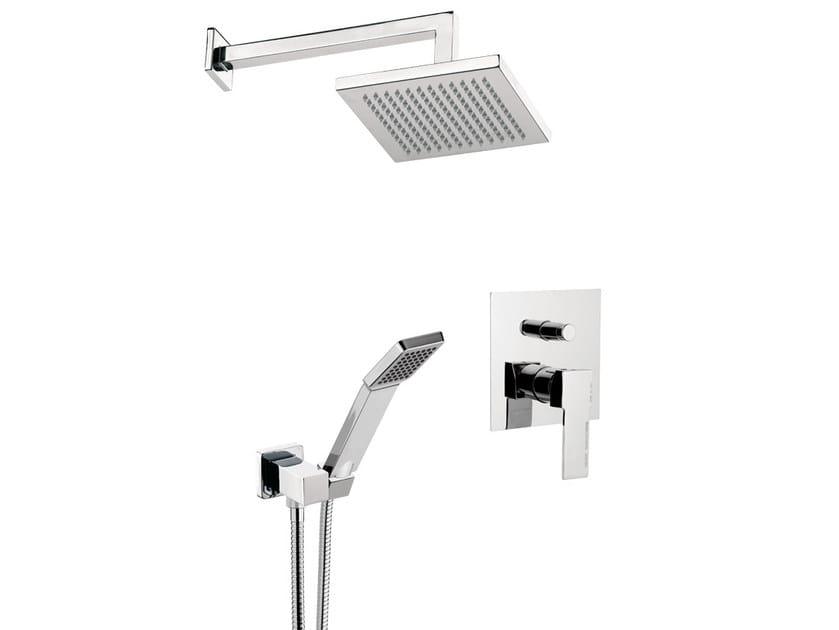 Chromed brass shower mixer with overhead shower QUBIKA   Shower mixer with overhead shower by Remer Rubinetterie