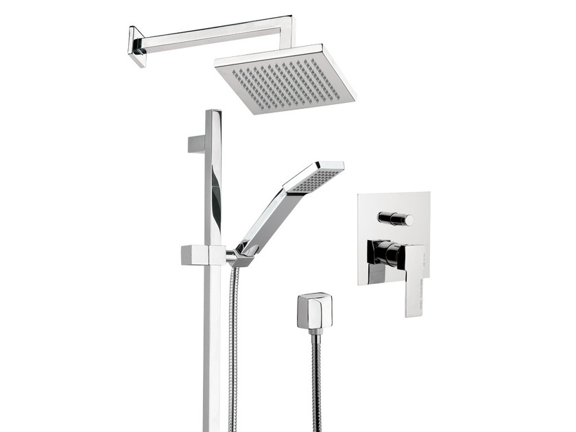 Shower wallbar with mixer tap with overhead shower QUBIKA | Shower wallbar by Remer Rubinetterie