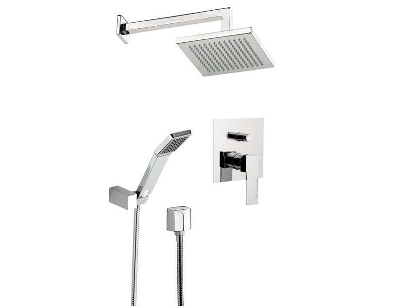 Shower mixer with hand shower with overhead shower QUBIKA SET by Remer Rubinetterie