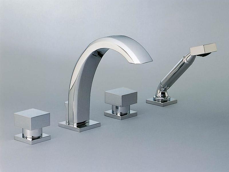 4 hole bathtub set with hand shower CUBICA   Bathtub set by INTERCONTACT